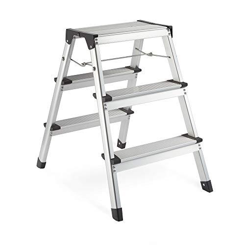 VonHaus Beidseitige 3-Stufige Leiter - Starke & Leichte Aluminiumkonstruktion - Rutschfeste Füße - Leicht Verstaubares Faltbares Design - Ideal für Zuhause/Küche/Garage