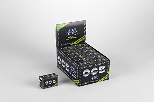 OCB Premium 24 Rolls Slim Plus Tips Zigarettenpapier, Zellstoff, Schwarz, 16 x 10 x 7 cm