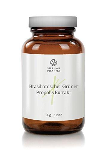 Grüner Propolis Trockenextrakt - Spitzenqualität aus Brasilien Pulver 20G - Propolis Extrakt OHNE Alkohol - 100% Natürlich und Rein