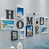 Marco de Fotos Múltiples, un Conjunto de 10 Collage Foto Pared Sala de Estar Dormitorio Creativo Combinación Decorativa Pared (Color : Blue)