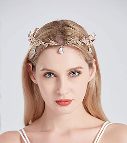 SH Rhinestone Crown for women, Wedding Tiaras and Crowns Rose Gold Tiara Headband Costume Party Hair Accessories Birthday Pageants Prom Fairy Headpieces