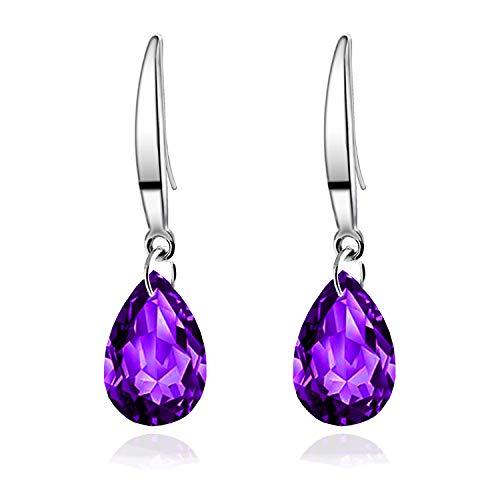 14k White Gold Plated Women Dangle Earrings 12mm Pear Shape Naked Drill Pure Brilliance Crystal Drop Earrings (Purple)