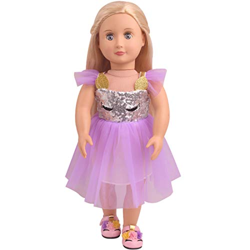 Topsee Veil Soft Cotton Unicorn Doll Dress Clothes Fits 18 inch Dolls Like Our Generation, My Life and American Girl Doll (A05-Purple)