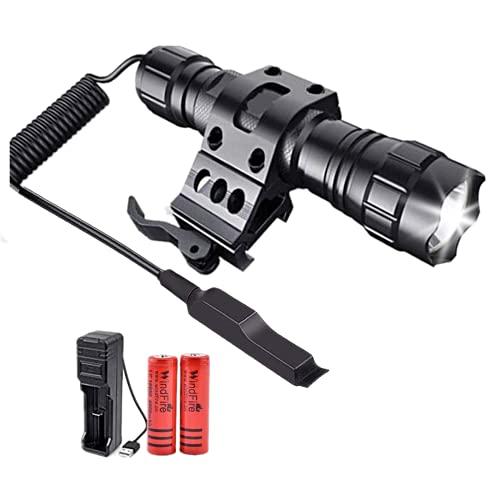 501B V6 Torcia LED tattica 50000 lumen Luce da caccia a LED nera opaca con supporto Picatinny, batterie ricaricabili e...