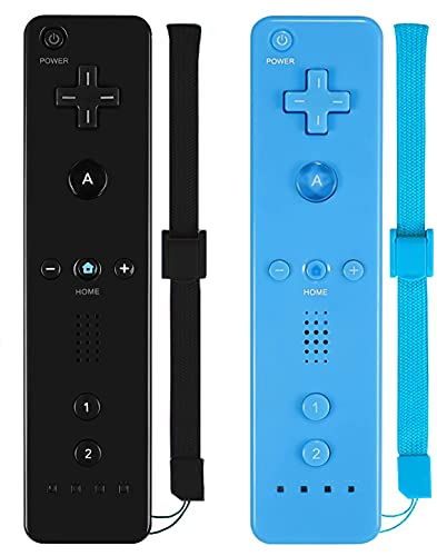 Wii Controller, ZeroStory Remote Controller with Silicone Case and Wrist Strap Compatible for Wii Wii U Console (2 Pack, Black and Blue)