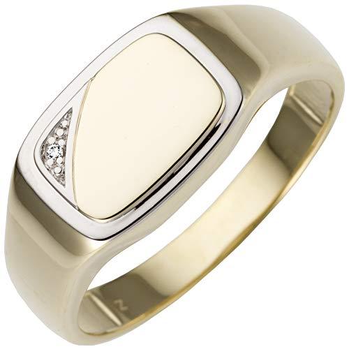 JOBO Herren Ring 585 Gold Gelbgold bicolor 1 Diamant Brillant Goldring Größe 62
