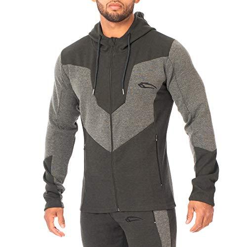 SMILODOX Kapuzenpullover Herren 'Instinct' | Zip Hoodie für Sport Fitness Training | Trainingsjacke - Sportpullover - Sweatjacke - mit Reißverschluss, Größe:M, Farbe:Olive