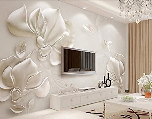 Gips Relief Magnolie Blume Fliegender Vogel Weiß für Wände Wandbilder Tapete Wanddekoration fototapete 3d Tapete effekt Vlies wandbild Schlafzimmer-430cm×300cm