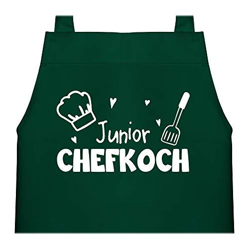 Shirtracer Kinderschürze mit Motiv - Junior Chefkoch - 60 cm x 50 cm (H x B) - Grün - schuerze blau - X978 - Kochschürze und Schürze für Kinder