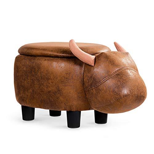 GOPLUS Tierhocker Kinderhocker Hocker Dekohocker Polsterhocker Lagerstuhl Sitzbank Fußbank Aufbewahrungsbox, Sitzhocker mit Stauraum, mit Deckel, Modellwahl, 63x33x33cm (Wasserbüffel)