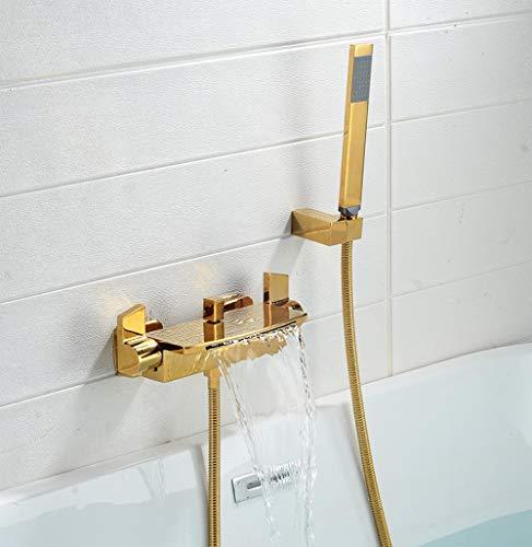 Nordic Kupfer Wasserfall Bad Wasserhahn Hotel helle schwarze Seite Bad kalt und warm Dusche Set-Gold