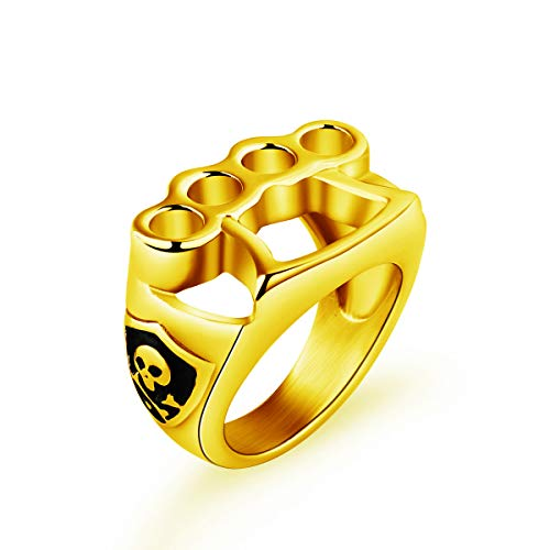 Knuckle Duster Ring Gold For Men Stainless Steel Punk Biker Ring Skull Fighter Boxing Gloves Jewelry Size 12