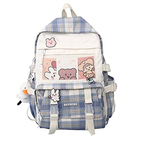 Kawaii Mochila Escolar niña Japonés Anime Harajuku Estuches Escolares Regalos Mochila para el Colegio A-03 (Blue,L:29cm W:13cm H:42cm)