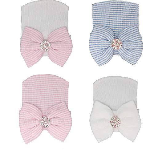Aeromdale Baby-Mütze, Mädchen, für Krankenhaus, mit Strassstein-Schleife, 4 Stück