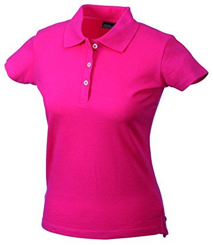 James & Nicholson Damen Ladies´ Elastic Piqué Polo Poloshirt, Rosa (Pink), 34 (Herstellergröße: S)
