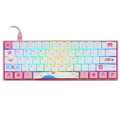 EPOMAKER AKKO 3061 R2 World Tour Tokyo 61 Keys RGB 60% Wired Mechanical Keyboard with PBT Japanese Keycaps, NKRO for Gamers/Mac/Win (Gateron Pink Switch, 61 Japanese Keys)