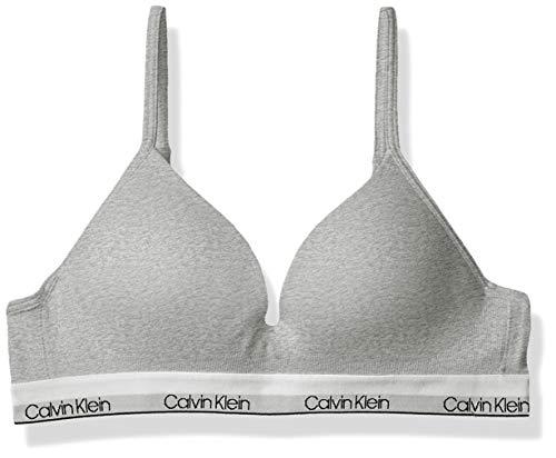 Calvin Klein Big Girls' Seamless Wirefree Comfort Bralette Bra, Molded - Heather Grey, 32A