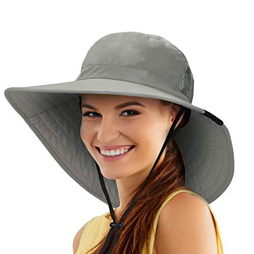 Tirrinia Womens Sun Hat Extra Wide Hard Brim Large Boonie Fishing Safari Hiking Cap