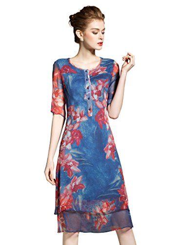 Womens Casual Floral Printed 1/2 Sleeve Round neck Sundress A-line Midi Dress