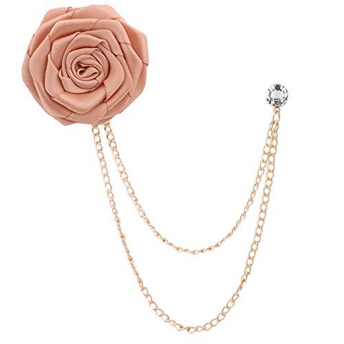 ZWLZQ Broschen Brosche Bräutigam Hochzeit Broschen Rose Blume Brosche Revers Pin Quaste Kette Herren Anzug Zubehör Champagner