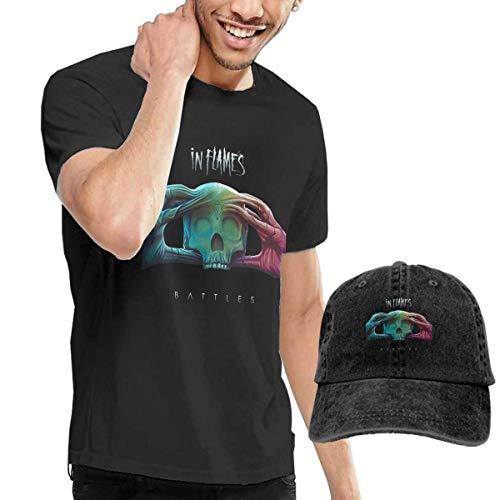 Thimd Camiseta de Manga Corta para Hombre,Gorra de béisbol Combinación Negro in...