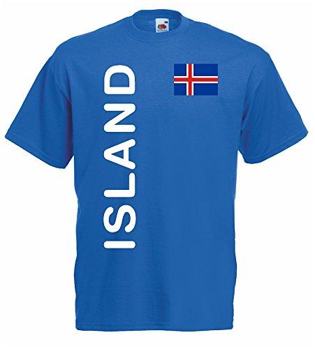 World-of-Shirt Herren T-Shirt Island EM 2016 Trikot Fanshirt blau-M