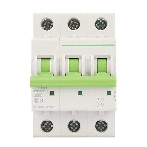 ZGQA-GQA 3P 6KA Disyuntor miniatura, 380V / 415VAC tipo C Disyuntor miniatura interruptor diferencial Protección del Aire, por, y alto, industrial, comercial y residencial (25A)