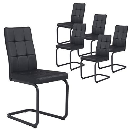B&D home - Esszimmerstühle 6er Set | Vintage freischwinger Stühle | Kunstleder schwarz