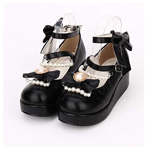 HHXXTTXS Spring Sweet Lolita Cosplay Shoes Wedge Mary Jane Shoes con Perlas y Lazos