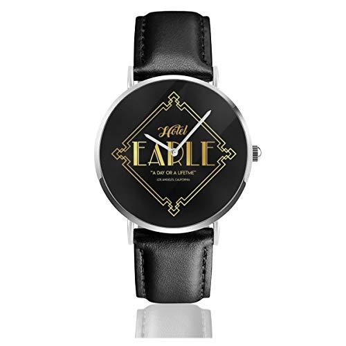 Unisex Business Casual Hotel Earle Barton Fink Uhren Quarz Leder Uhr mit schwarzem Lederband für Männer Frauen Junge Kollektion Geschenk