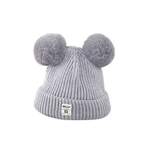 N-brand Pulabo - Gorro de punto con orejas de pelo para bebé, niño o niña, gorro de invierno...