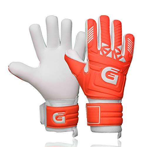 GUARDY - Fingerschutz Kinder Torwarthandschuhe – Haltbare Torhüterhandschuhe für Kinder - Keeperhandschuhe mit extra starkem Grip (Rot mit Fingerschutz, 7)