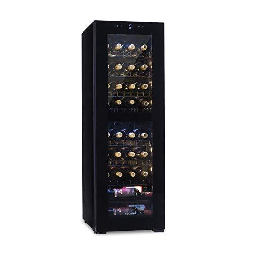Klarstein Bellevine deux 39 Flex Nevera para vinos - Nevera de bebidas por compresión, 2 zonas, 105 litros de capacidad, 39 botellas de vino, Panel táctil, De 5 a 20 °C, Iluminación, Negro