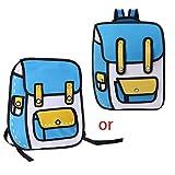 YU-NIYUT 2D Drawing Backpack, Creative Cartoon School Bag, Break The Boundaries, Comic Bookbag for Teenager Students Girls Daypack Travel Rucksack