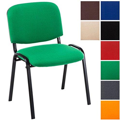 CLP Besucherstuhl Ken mit hochwertiger Polsterung und Stoffbezug I Stapelstuhl mit robustem Metallgestell und gepolsterter Rückenlehne Grün