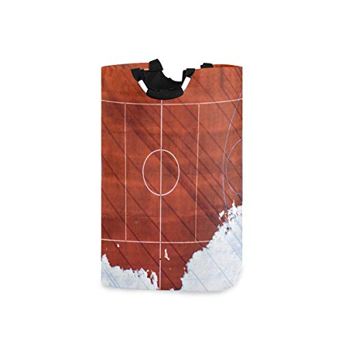 DYCBNESS Cesto para la Colada,Vista Gráfica Superior Baloncesto Voleibol Fútbol,Cesta de lavandería Plegable Grande,Cesto de Ropa Plegable,Papelera de Lavado Plegable