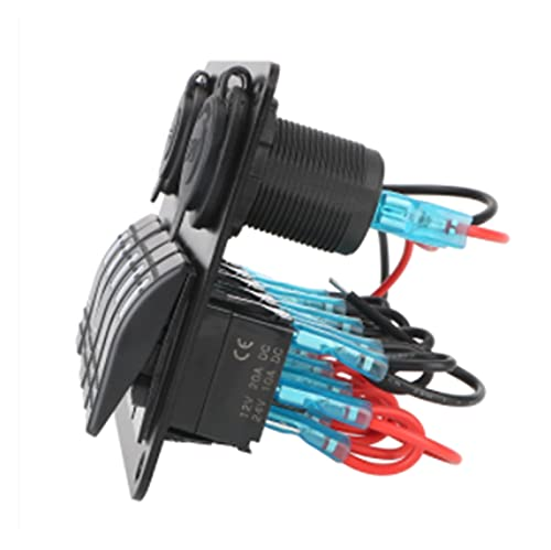 POLKMN Con Fusible Impermeable Dual USB Slot Socket 12 / 24V Outlet Combination 5 Gang LED Rocker Switch Panel Voltaje Digital (Color : Red)