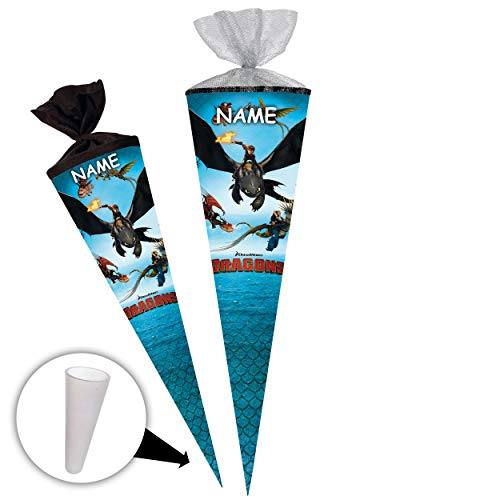 alles-meine.de GmbH Schultüte -  Dragons - Drachenzähmen leicht gemacht  - 85 cm - eckig - incl. Name - Tüllabschluß - Zuckertüte - mit / ohne Kunststoff Spitze - Nestler - Mäd..
