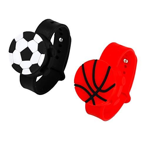 BMS Set di 2 braccialetti in gel idroalcolico per bambini e bambine, con disegni di palloni da calcio e basket, con dosatore disinfettante per mani e bambini, materiale scolastico, ritorno a scuola