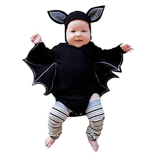 Lazzboy Kleinkind Neugeborenes Baby Jungen Mädchen Halloween Cosplay Kostüm Fledermaus ärmel Strampler Hut Outfits Set(Schwarz,Höhe110)