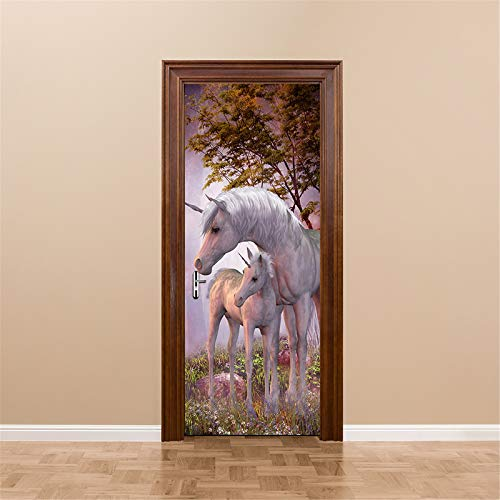 MACHINE BOY Removable Door Sticker Unicorn in The Dream Forest Wallpaper for Bedroom Living Room Mural Home Decor Size 90 * 200cm