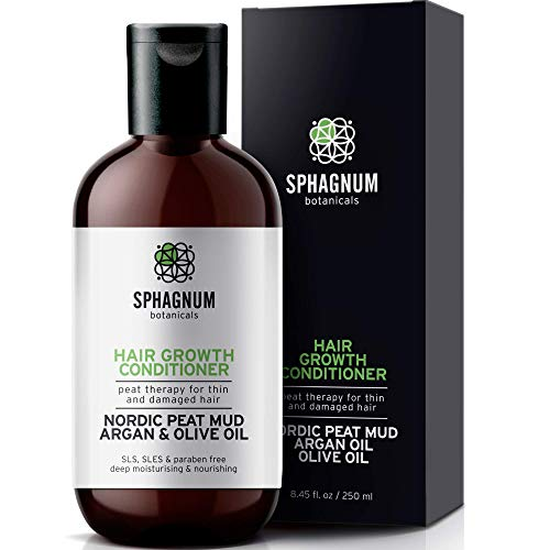 Sphagnum Natural Hair Growth Conditioner - Peat Mud & Argan Oil Treatment for Thin and Damaged Hair. Organic DHT Blocker, Pregnancy Safe. No Parabens, SLS, Sulfates, Best Conditioner for Hair Loss