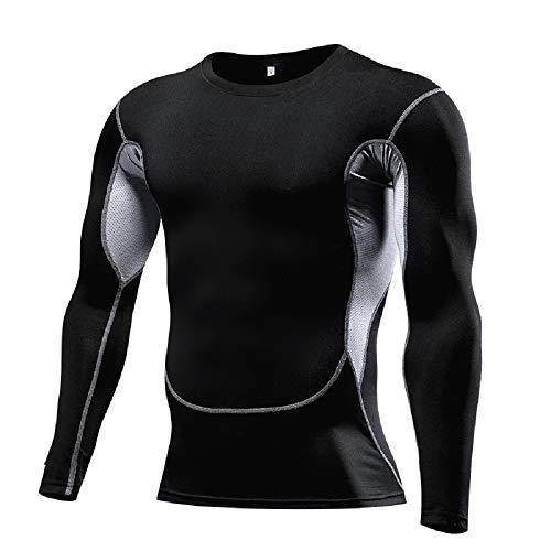 T-Shirt à Manches Longues Homme Chemise de Compression,Sport Séchage Rapide T-Shirt de Course Cyclisme,Maillot de Compression Fitness Entraînement Vetement de Football Jogging Gym Tops