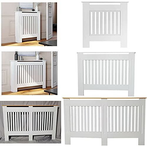 DayPlus Radiator Covers White Tall Slatted Shelf Cabinet MDF Modern Painted Cabinet Living Room Furniture Heating Grill Wall Radiator Cover Traditional Heater Small-H 82 x W 78x D 19 Cm