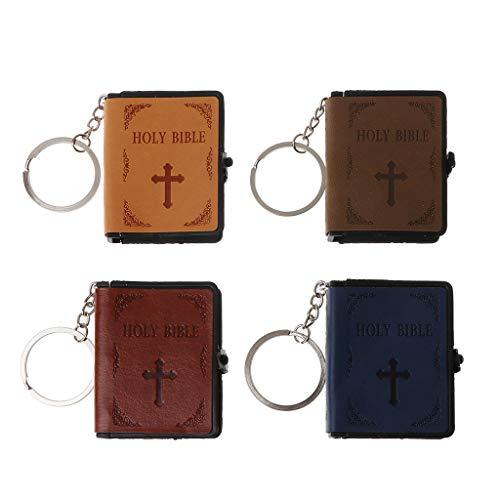 BQBQERT Chaveiro de couro com livro da Bíblia Sagrada em papel miniatura Chaveiro cristão espiritual