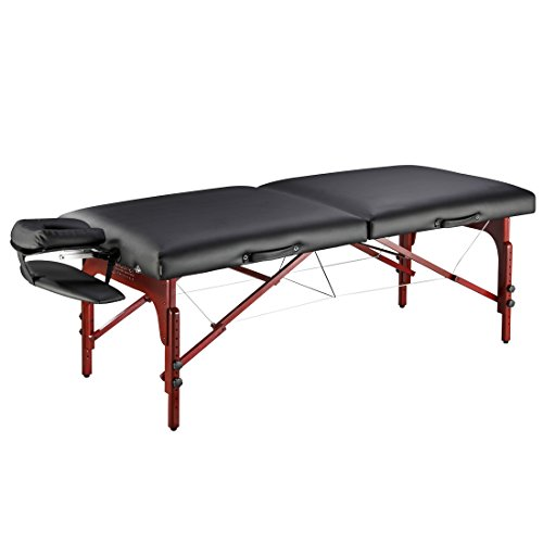 Master Massage 31' Montclair Professional Portable Massage Table Package with MEMORY FOAM Layer -Black