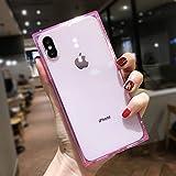 HSXQQL Handyhülle Tropfensichere weiche Hülle für iPhone XS MAX XR X 6 6S Plus Durchsichtige TPU-Silikonabdeckung für iPhone X 7 8 Plus, Pink, für 6 Plus 6s Plus