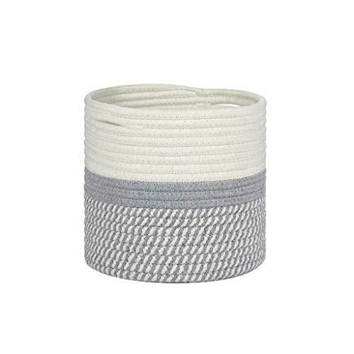 Cesta de almacenamiento rústica de cuerda tejida, cesta de la colada, maceta para plantas de interior, contenedor decorativo para el hogar
