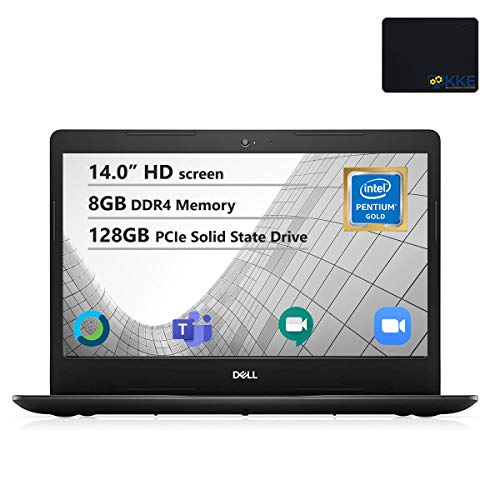 Dell Inspiron 14' HD Laptop, Intel 5405U Processor, 8GB DDR4 Memory, 128GB PCIe Solid State Drive, Online Class Ready, Webcam, WiFi, HDMI, Bluetooth, KKE Mousepad, Win10 Home, Black