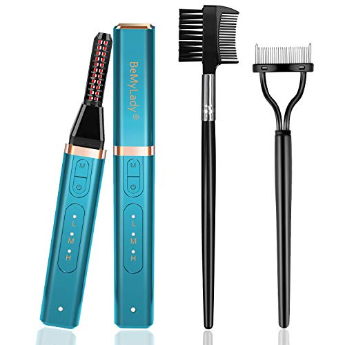 Heated Eyelash Curler, Eyelash Separator, Double-Sided Eyelash Comb Brush, Electric Eyelash Curler for Women, Long-Lasting & Natural Eyelashes Make-Up Tool Lash Curler for Women Girls Gift, Cyan